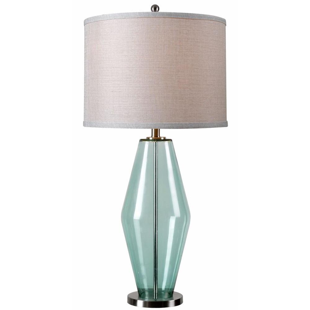 Azure 31 In Teal Glass Table Lamp 32315teal The Home Depot