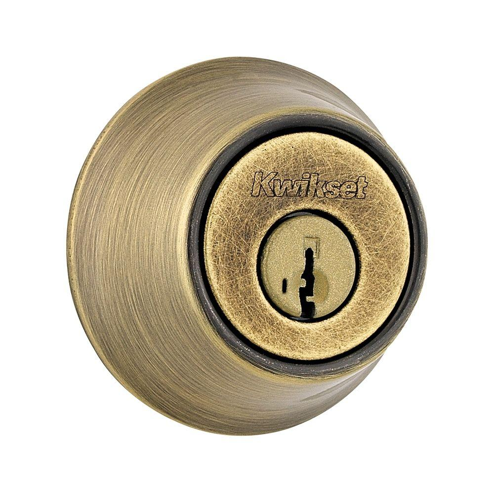 Kwikset 660 Single Cylinder Antique Brass Deadbolt Featuring SmartKey