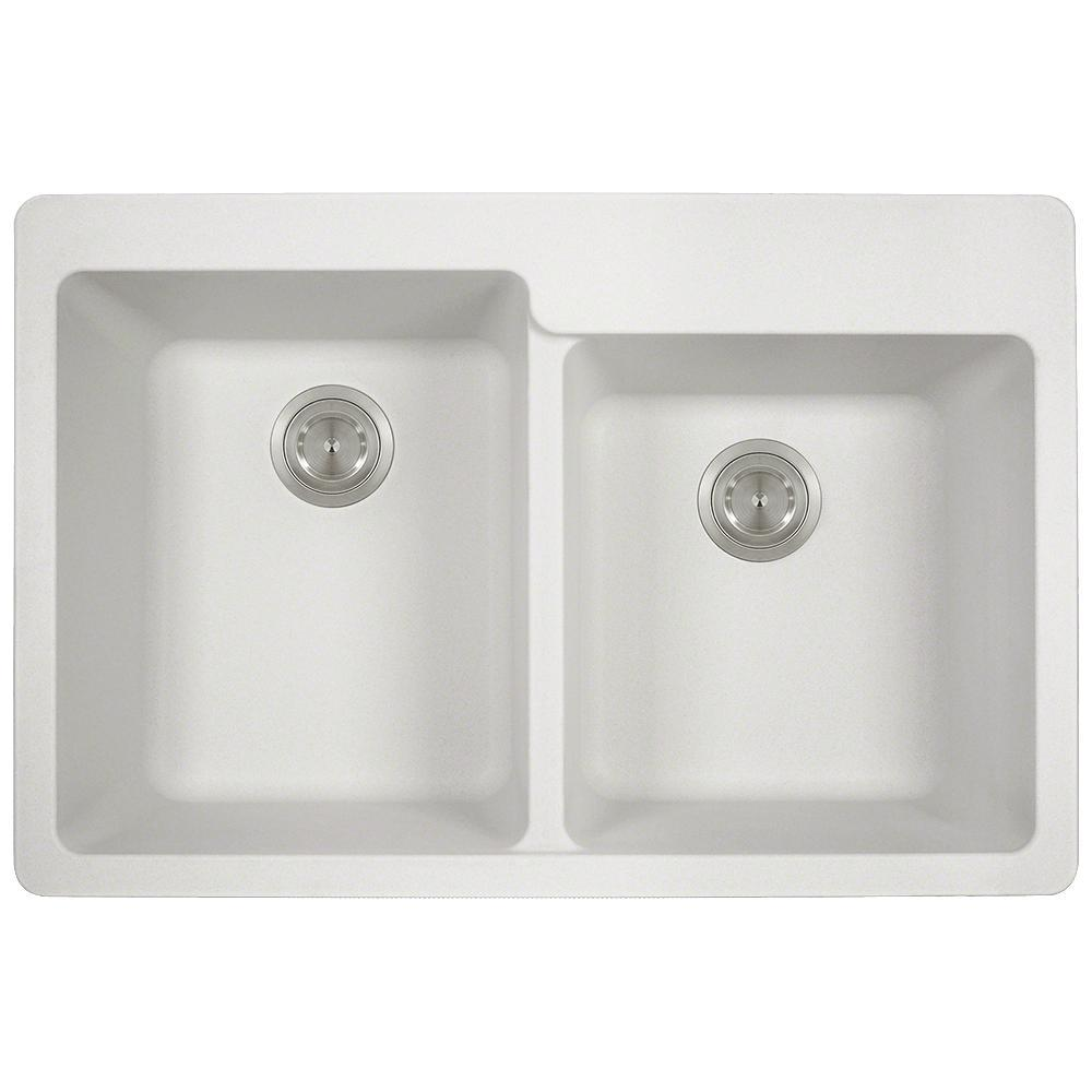 3 Hole Offset Double Bowl Kitchen Sink