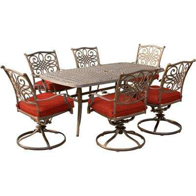 Traditions 7-Piece Aluminum Outdoor Dining Set with Swivel Rockers and Red Cushions