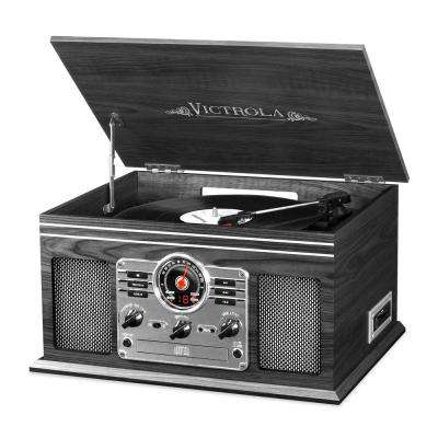 6-in-1 Classic Wooden Turntable with Bluetooth, Grey