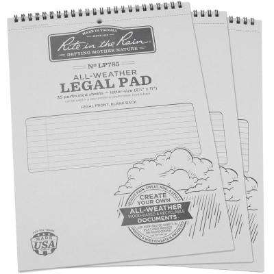 All-Weather 8-1/2 in. x 11 in. Legal Pattern Pad, Gray Cover (3-Pack)