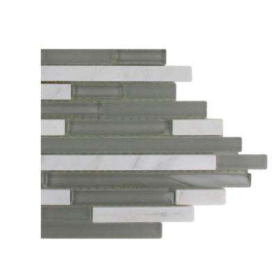 Temple Grey Plume Marble And Glass Tile - 6 in. x 6 in. Tile Sample