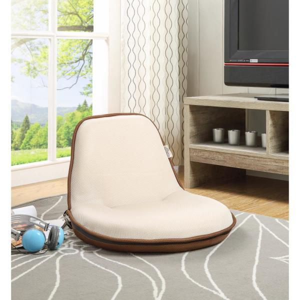 Quickchair Beige/Brown Mesh Folding Floor Chair for Indoor/Outdoor