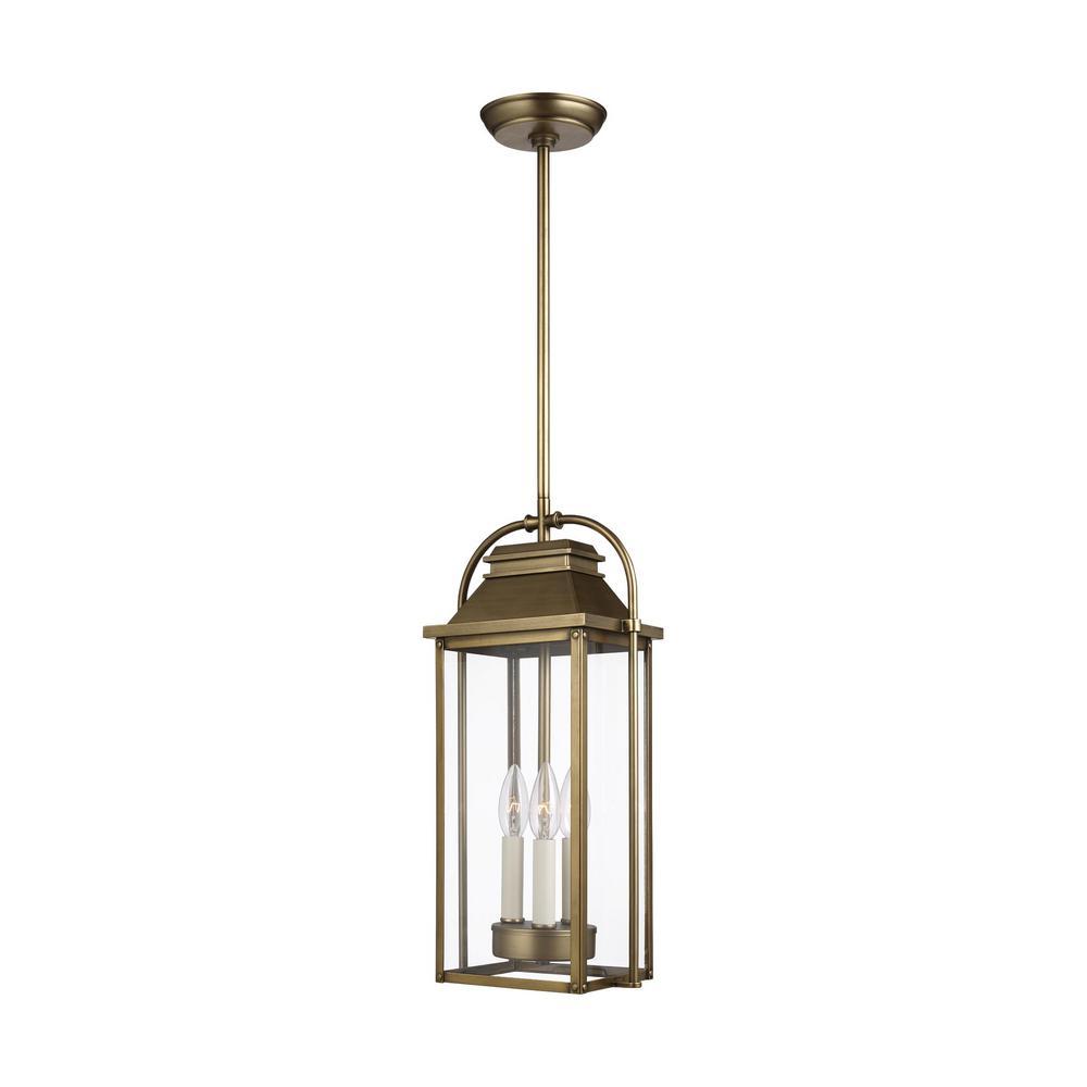 Wellsworth 3-Light Painted Distressed Brass Outdoor Hanging Pendant Lantern