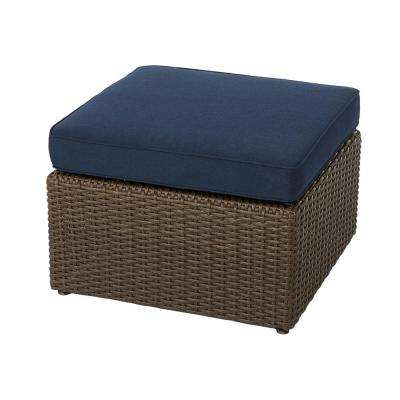 Maldives Brown Wicker Outdoor Ottoman with Sunbrella Navy Cushion