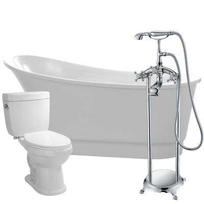 Prima 67 in. Acrylic Flatbottom Non-Whirlpool Bathtub in White with Tugela Faucet and Talos 1.6 GPF Toilet