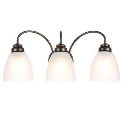 3-Light Oil Rubbed Bronze Vanity Light with Frosted Glass Shades