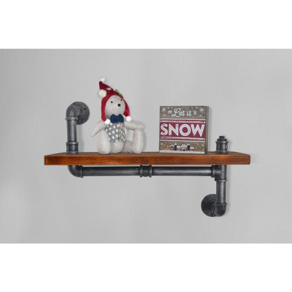 Today's Mentality Bruges Industrial Floating Silver Brushed Gray Pipe Wall Shelf with Walnut Wood