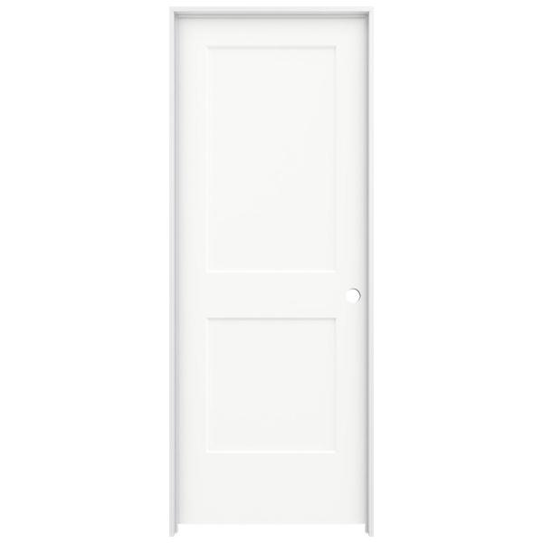 30 in. x 80 in. Monroe White Painted Left-Hand Smooth Solid Core Molded Composite MDF Single Prehung Interior Door