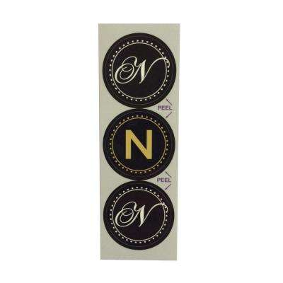 N Monogram Decorative Bathroom Sink Stopper Laminates (Set of 3)