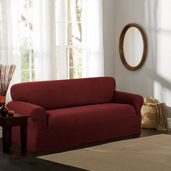 Maytex Reeves Stretch 1-Piece Red Sofa Slipcover 4100501jRED - The ...