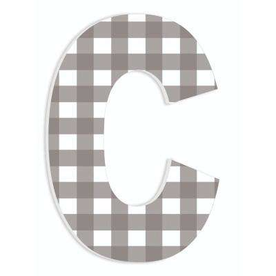 """12 in. x 18 in. """"Farmhouse Gingham Patterned Initial C"""" by Artist Daphne Polselli Wood Wall Art"""