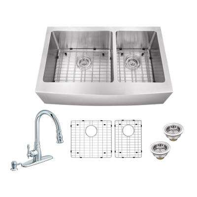 All-in-One Farmhouse Apron Front Stainless Steel 33 in. 60/40 Double Bowl Kitchen Sink with Faucet