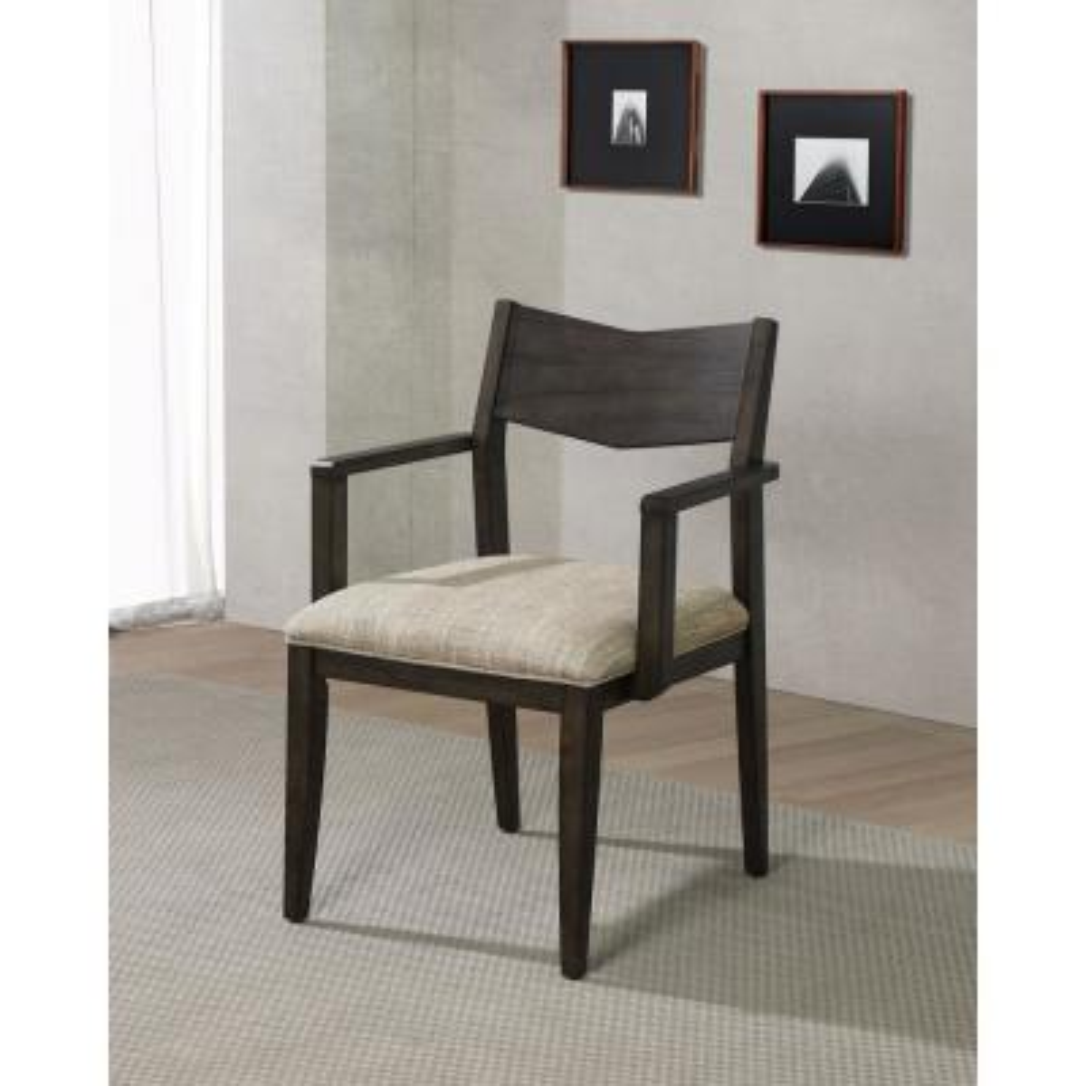Stoller Dark Walnut Upholstered Armchairs (Set of 2)