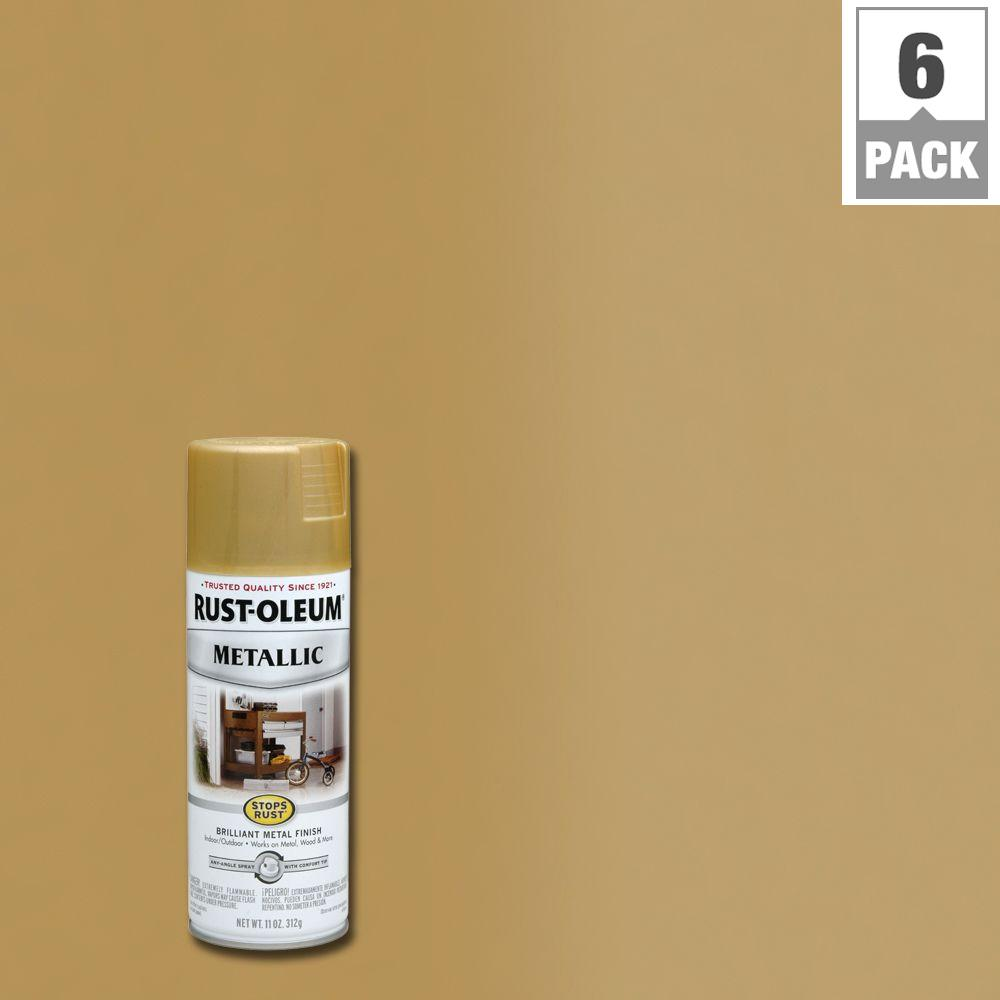 Rust-Oleum Stops Rust 11 oz. Gold Rush Protective Enamel Metallic Spray Paint (6-Pack)