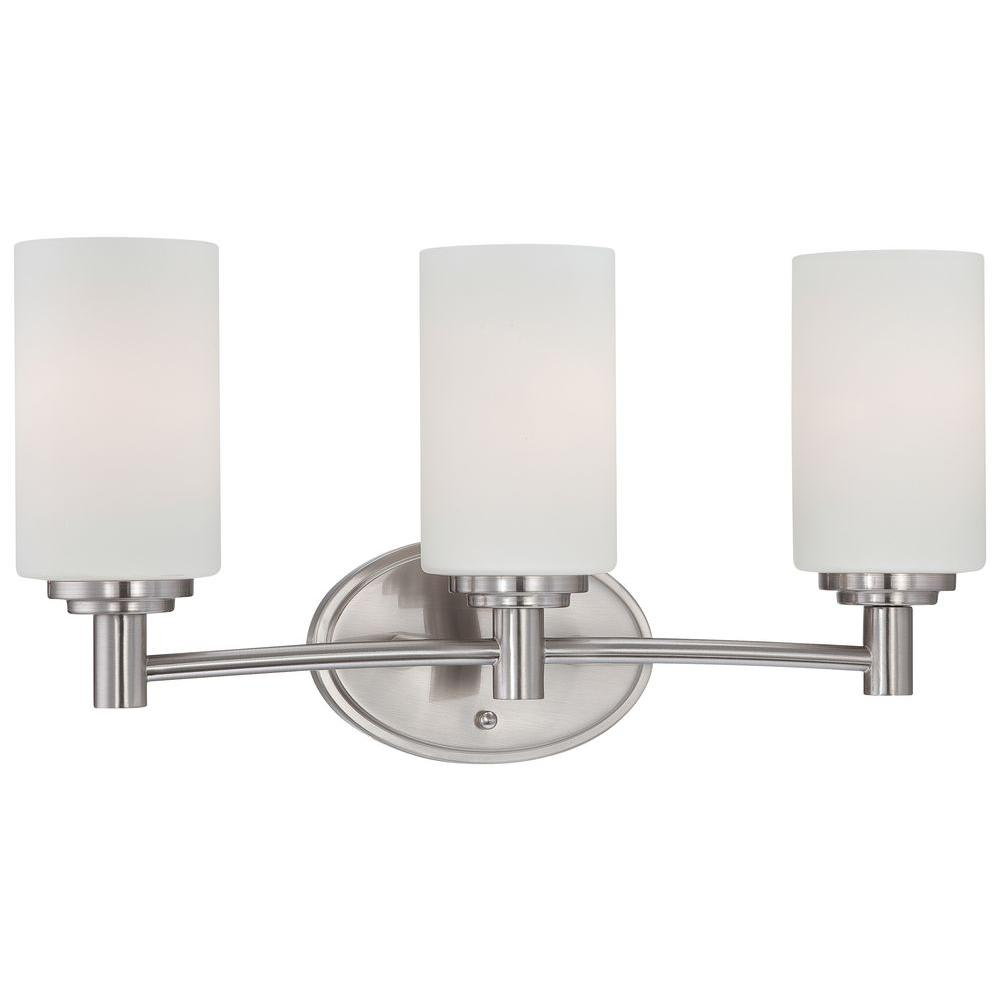 home depot bathroom lighting lighting pittman 3 light brushed nickel bath light 18738
