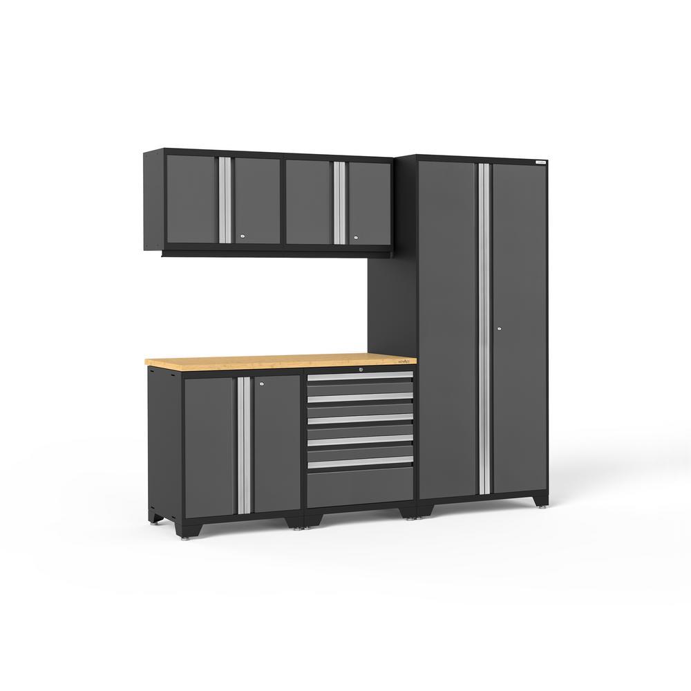 Pro 3.0 92 in. W x 83.25 in. H x 24 in. D 18-Gauge Welded Steel Bamboo Worktop Cabinet Set in Gray (6-Piece)