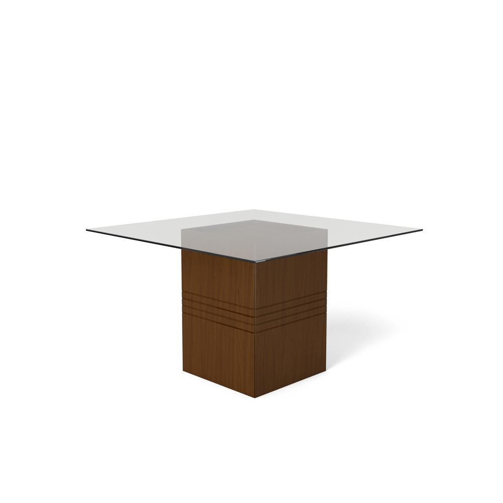 Manhattan Comfort Perry 1 8 55 12 In Nut Brown Sleek Tempered Glass Table Top