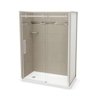 Utile Origin 32 in. x 60 in. x 83.5 in. Left Drain Alcove Shower Kit in Greige with Chrome Shower Door