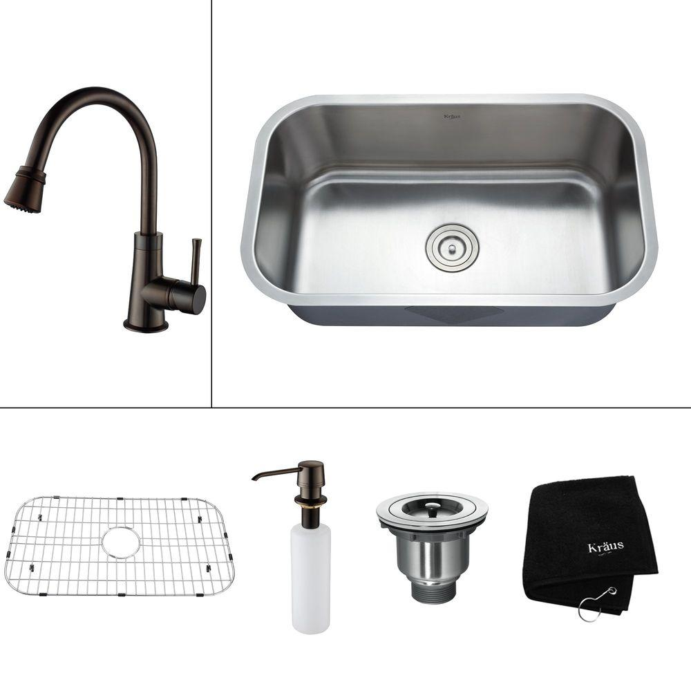 KRAUS All-in-One Undermount Stainless Steel 31.50x18.38x14.9 in. 0-Hole Single Bowl Kitchen Sink with Accessories