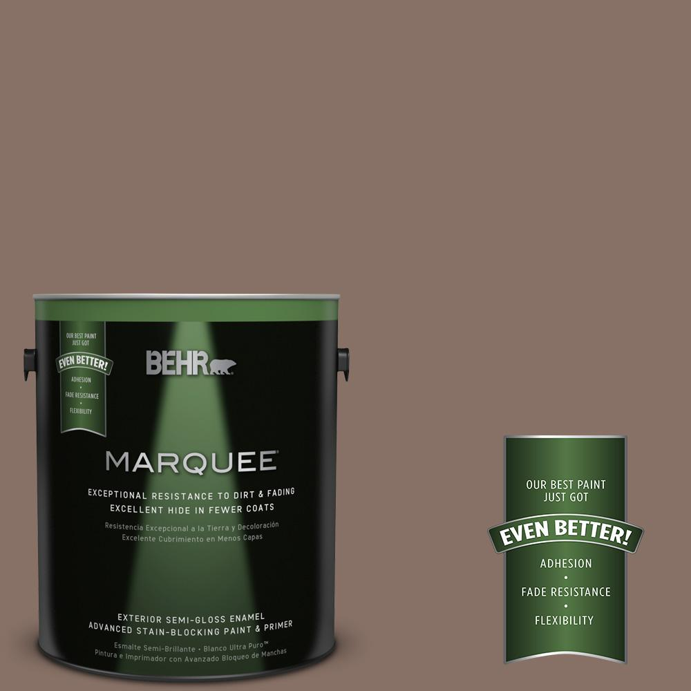 BEHR MARQUEE 1-gal. #770B-6 Oakwood Brown Semi-Gloss Enamel Exterior Paint