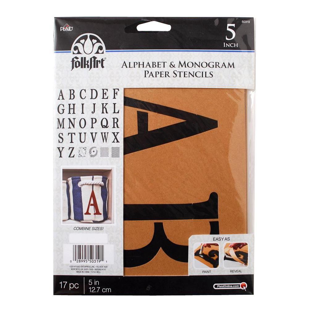 Serif 5 in. Alphabet and Monogram Paper Stencil