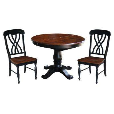 3-Piece Aged Ebony and Espresso Dining Set