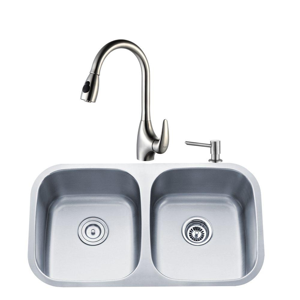 KRAUS All-in-One Undermount Stainless Steel 32 in. Double Bowl Kitchen Sink with Faucet and Accessories in Stainless Steel