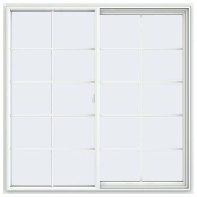 59.5 in. x 59.5 in. V-2500 Series White Vinyl Right-Handed Sliding Window with Colonial Grids/Grilles