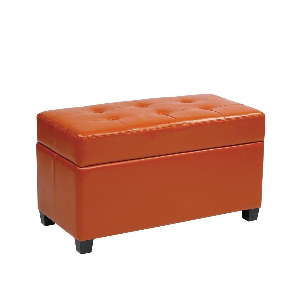 Orange Storage Ottoman