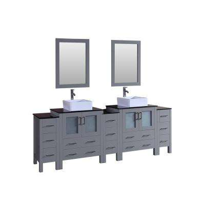 96 in. Double Vanity in Gray with Tempered Glass Vanity Top in Black with White Basin Polished Chrome Faucet and Mirror