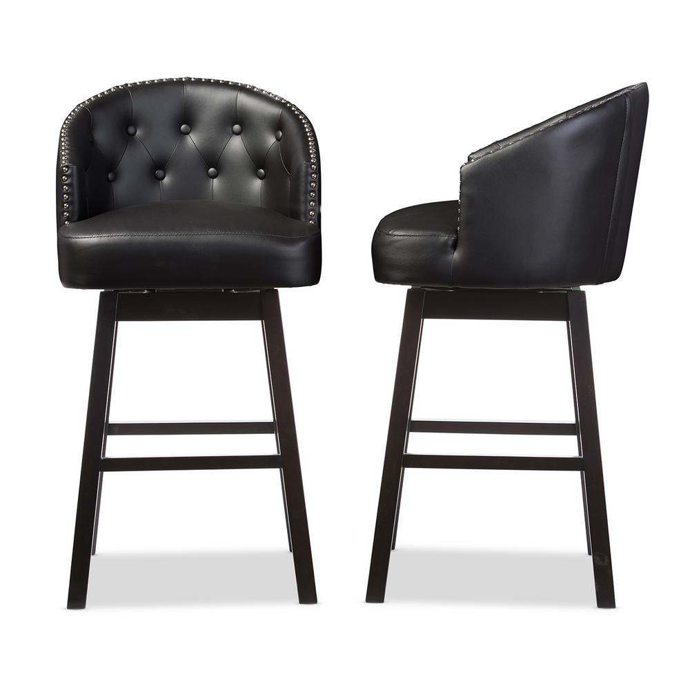 Avril Black Faux Leather Upholstered 2-Piece Bar Stool Set