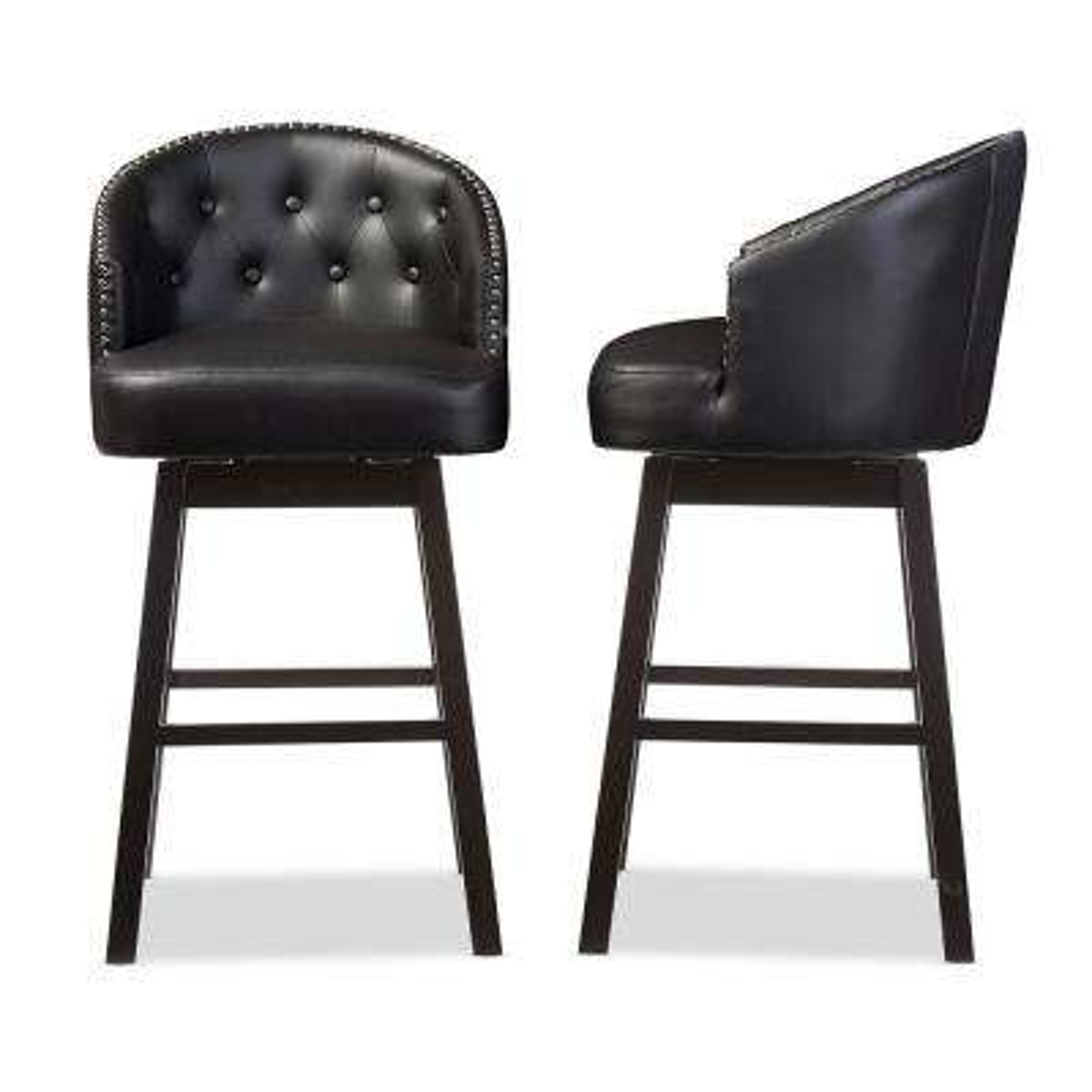 Baxton Studio Avril Black Faux Leather Upholstered 2-Piece Bar Stool Set by Baxton Studio