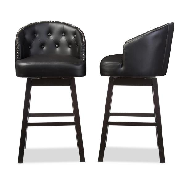 Baxton Studio Avril Black Faux Leather Upholstered 2-Piece Bar Stool Set