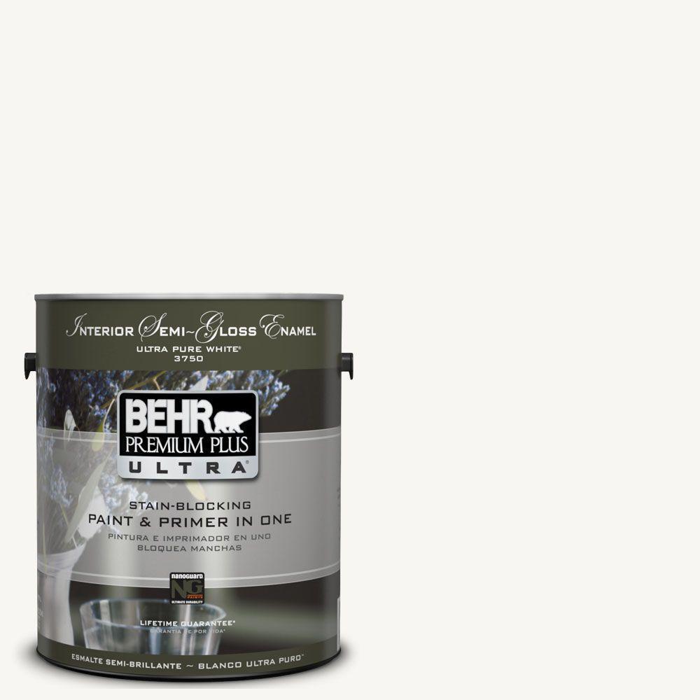 BEHR Premium Plus Ultra 1-gal. #UL260-14 Ultra Pure White Interior Semi-Gloss Enamel Paint