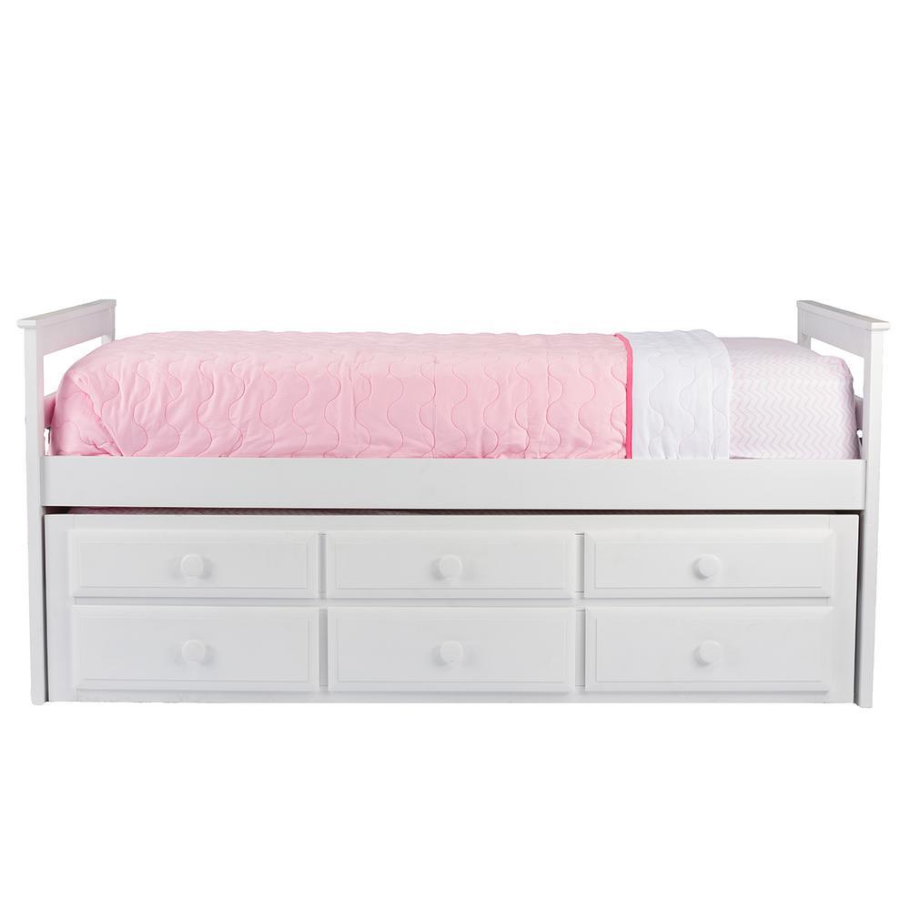 Baxton Studio Twin Wood Trundle Bed White Didrika