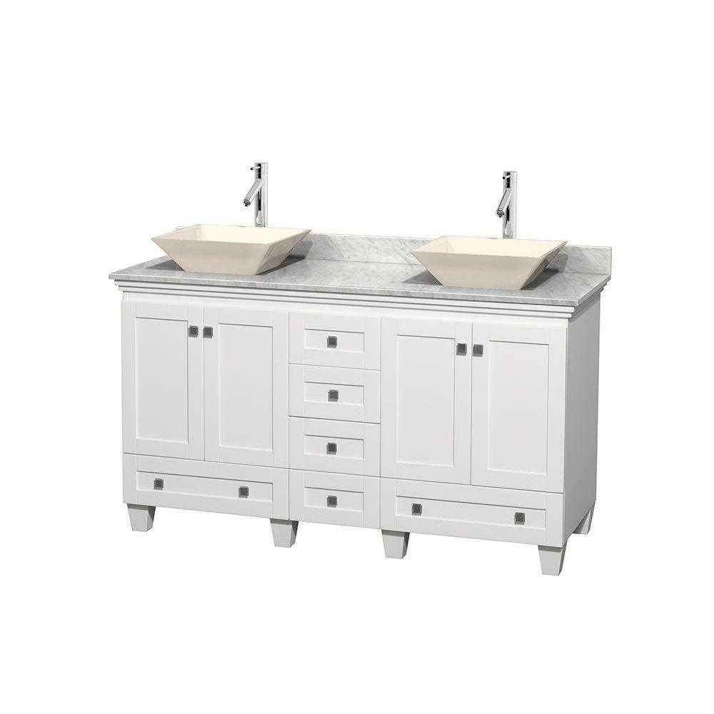 Wyndham Collection Acclaim 60 in. W Double Vanity in White with Marble Vanity Top in Carrara White and Bone Sinks