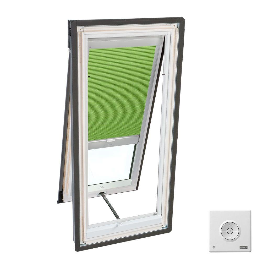 Velux solar powered room darkening green skylight blinds for Velux solar skylight tax credit