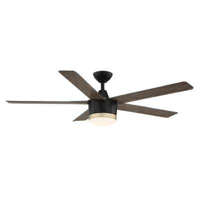 Merwry 56 in.Integrated LED Indoor/Outdoor Matte Black Fan with Light Kit and Remote Control works with Google and Alexa
