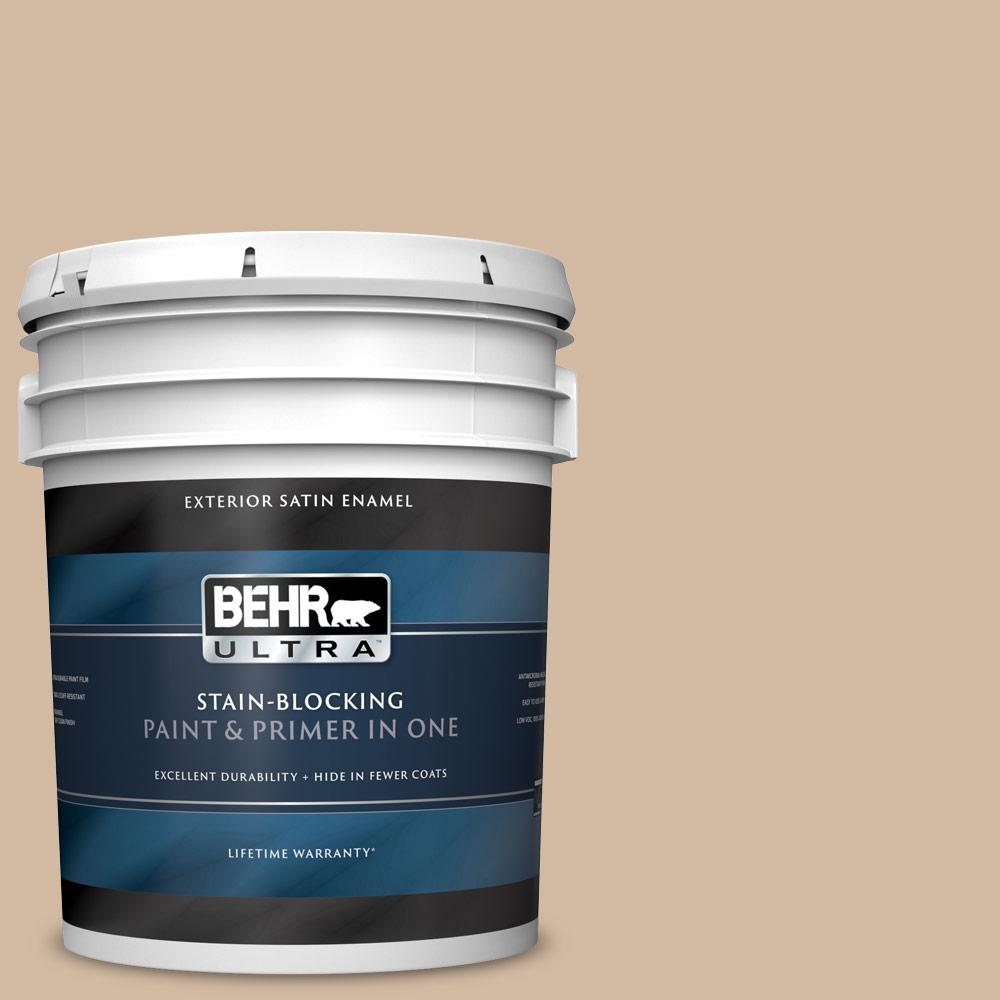 Behr Ultra 5 Gal N270 3 Coco Satin Enamel Exterior Paint And Primer In One 985405 The Home Depot