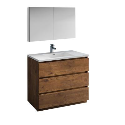 Lazzaro 42 in. Modern Bathroom Vanity in Rosewood with Vanity Top in White with White Basin and Medicine Cabinet
