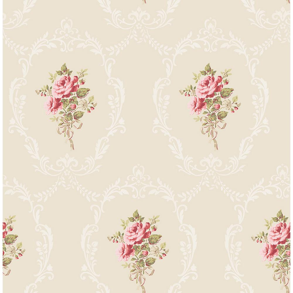 Fine Decor 56 4 Sq Ft Camellia Gold Floral Cameo Wallpaper 2900