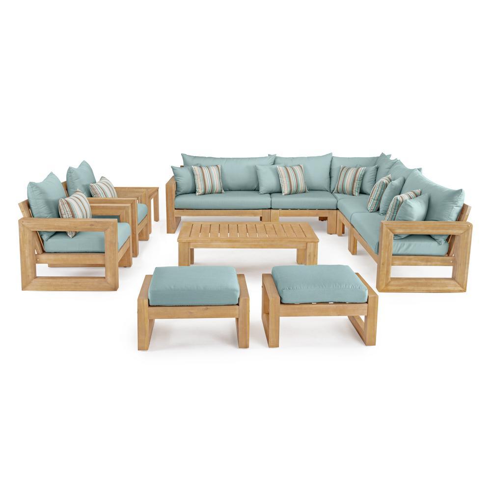 Benson 11-Piece Wood Patio Conversation Set with Bliss Blue Cushions