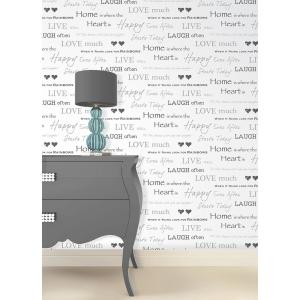 56.4 sq. ft. Happy Home Grey Text Wallpaper by