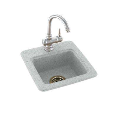 Drop-In/Undermount Solid Surface 15 in. 1-Hole Single Bowl Bar Sink in Tahiti Gray