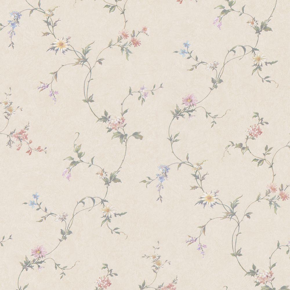 null Connie Beige Small Floral Trail Wallpaper