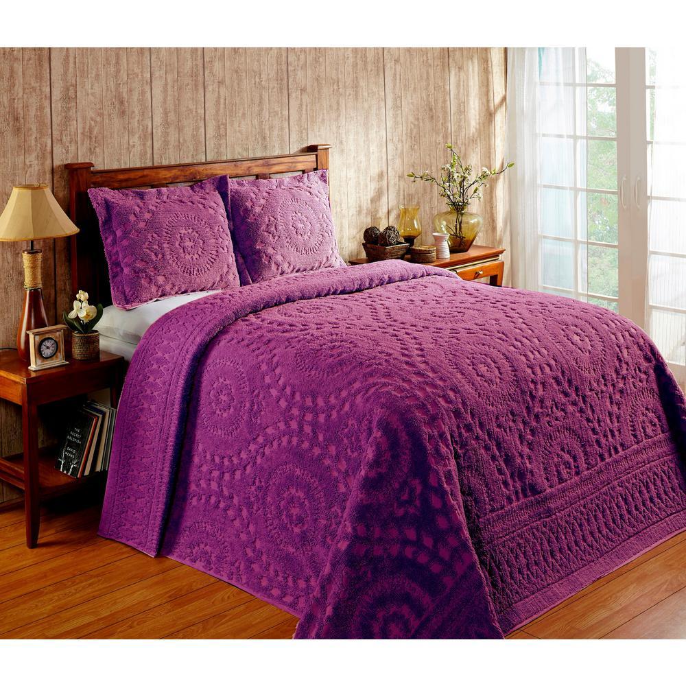 Rio Chenille 96 in. x 110 in. Plum Double Bedspread