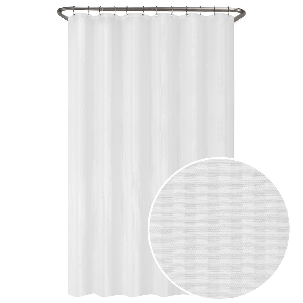Maytex 70 in. W x 72 in. L Ultimate Striped Waterproof Fabric Shower Curtain or Liner, White