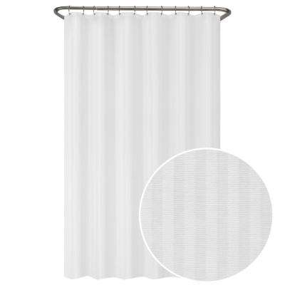 70 in. W x 72 in. L Ultimate Striped Waterproof Fabric Shower Curtain or Liner, White